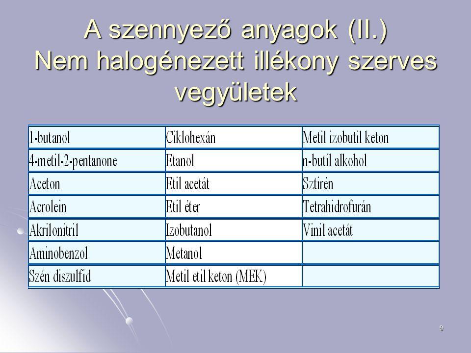 9 A szennyező anyagok (II.) Nem halogénezett illékony szerves vegyületek