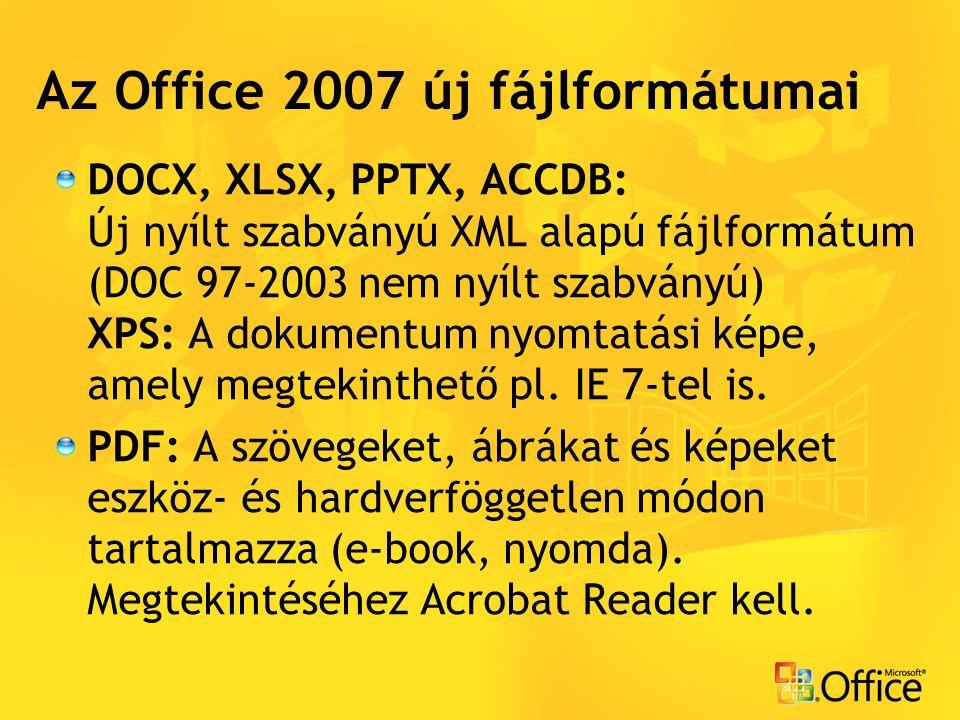 DOCX, XLSX, PPTX, ACCDB: Új nyílt szabványú XML alapú fájlformátum (DOC 97-2003 nem nyílt szabványú) XPS: A dokumentum nyomtatási képe, amely megtekinthető pl.