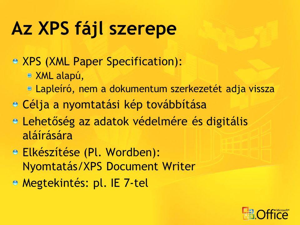 Az XPS fájl szerepe XPS (XML Paper Specification): XML alapú, Lapleíró, nem a dokumentum szerkezetét adja vissza Célja a nyomtatási kép továbbítása Lehetőség az adatok védelmére és digitális aláírására Elkészítése (Pl.