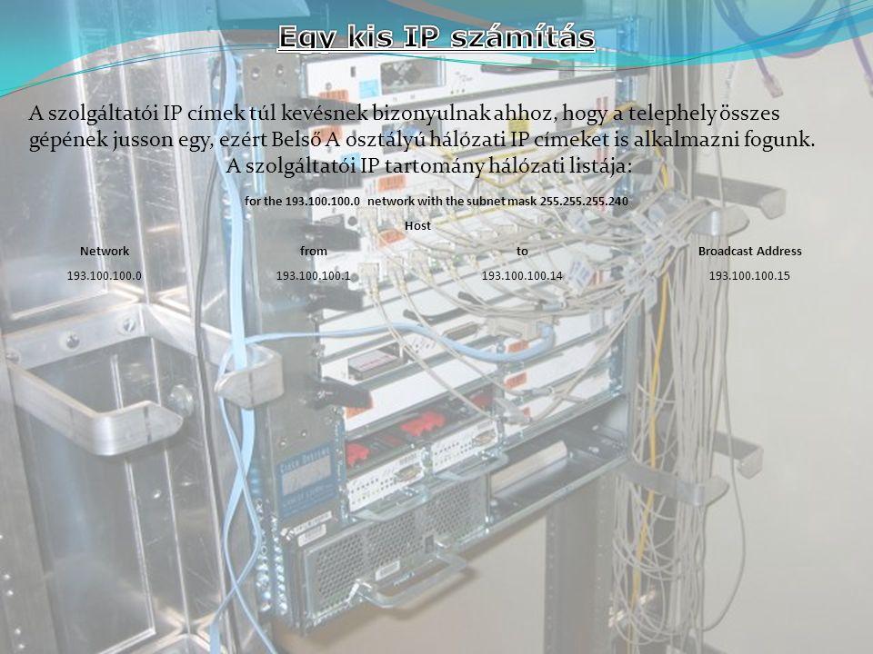 A szolgáltatói IP címek túl kevésnek bizonyulnak ahhoz, hogy a telephely összes gépének jusson egy, ezért Belső A osztályú hálózati IP címeket is alkalmazni fogunk.