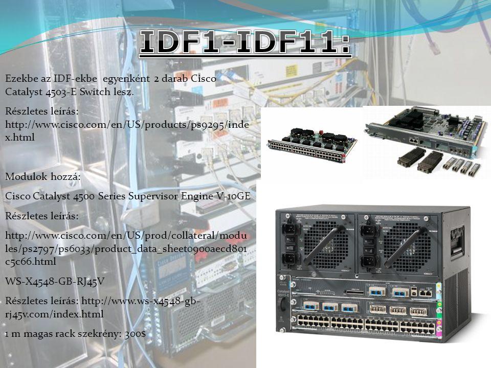 Ezekbe az IDF-ekbe egyenként 2 darab Cisco Catalyst 4503-E Switch lesz.