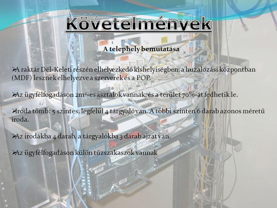  A CISCO router után 2 hálózatot alakítottunk ki, egyik a szerver háózat, másik pedig a felhasználóké  A felhasználók az Internetet címfodítással érik el (NAT)  Beállíthatnak az Internet egyes szolgáltatásaihoz proxy szervert is (pl.: WEB)  A proxy szerver a weboldalakat a routeren keresztül éri el, és a felhasználók a proxy-t szintén a routeren keresztül.