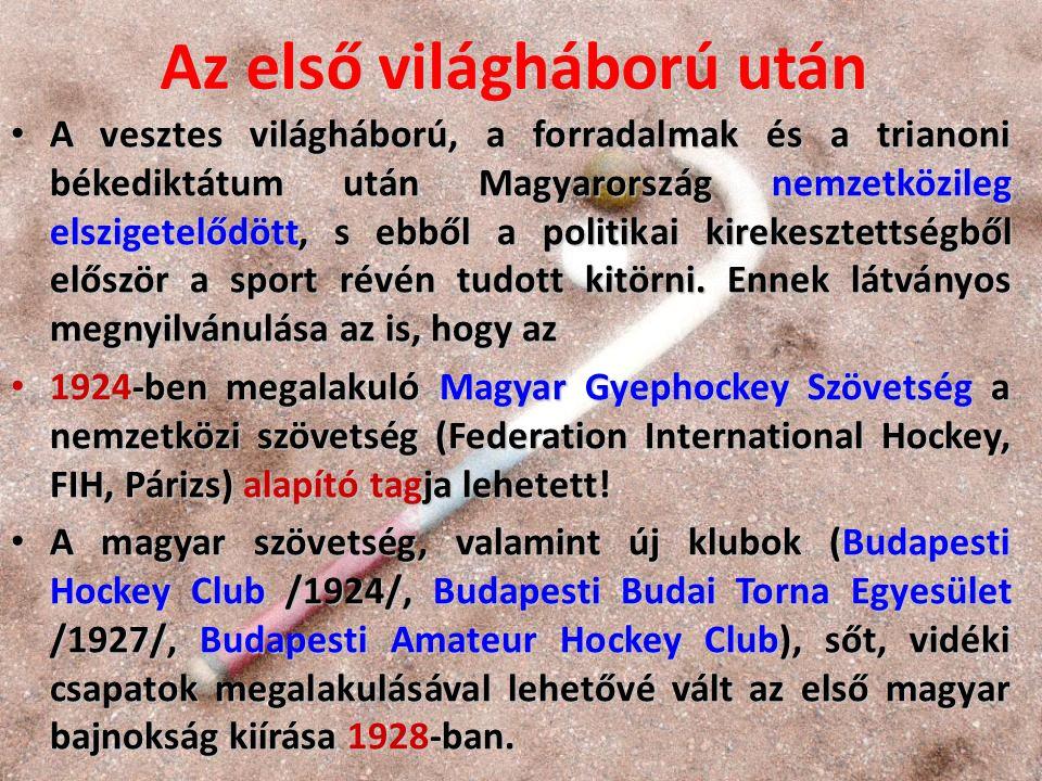 A magyar bajnokság győztesei 1929- től 1944-ig Magyar Hockey Club (MHC): 1929, 1932 Magyar Hockey Club (MHC): 1929, 1932 Magyar Athlétikai Club (MAC): 1930, 1931 Magyar Athlétikai Club (MAC): 1930, 1931 Budapesti Budai Torna Egylet (BBTE): 1935, 1936, 1937, 1938, 1939, 1940, 1941, 1942, 1943 Budapesti Budai Torna Egylet (BBTE): 1935, 1936, 1937, 1938, 1939, 1940, 1941, 1942, 1943 Amateur Hockey Club (AHC): 1933, 1934, 1944 Amateur Hockey Club (AHC): 1933, 1934, 1944