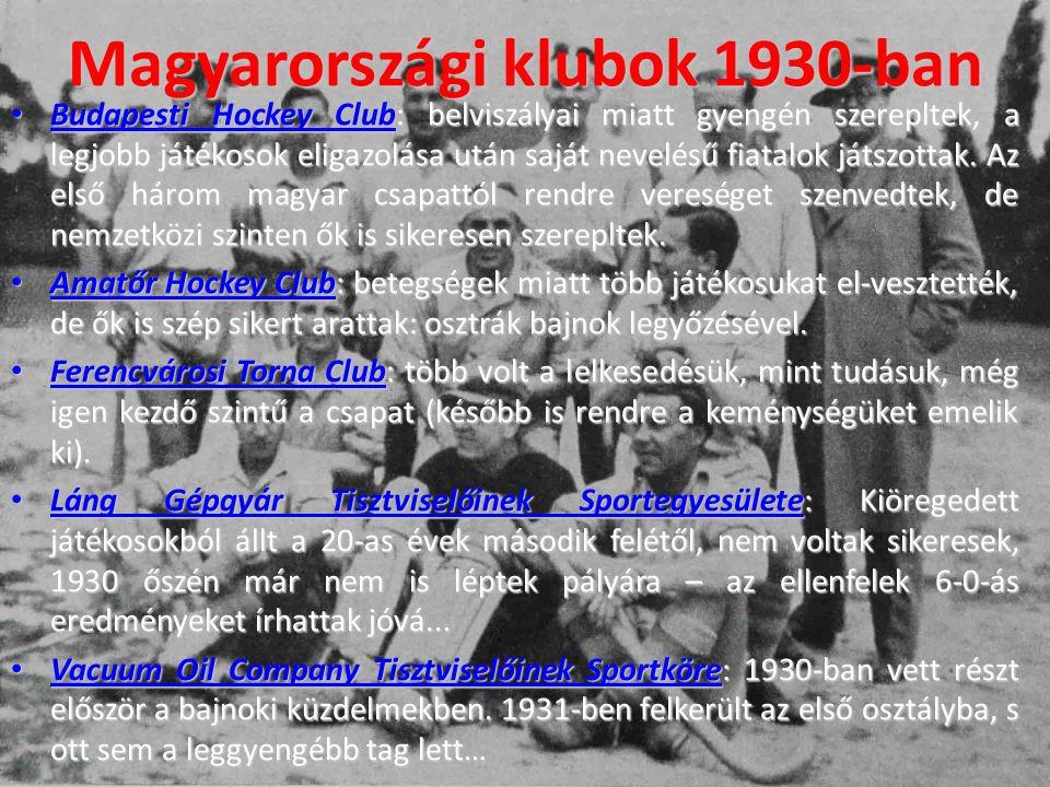 Magyarországi klubok 1930-ban Budapesti Hockey Club: belviszályai miatt gyengén szerepltek, a legjobb játékosok eligazolása után saját nevelésű fiatalok játszottak.