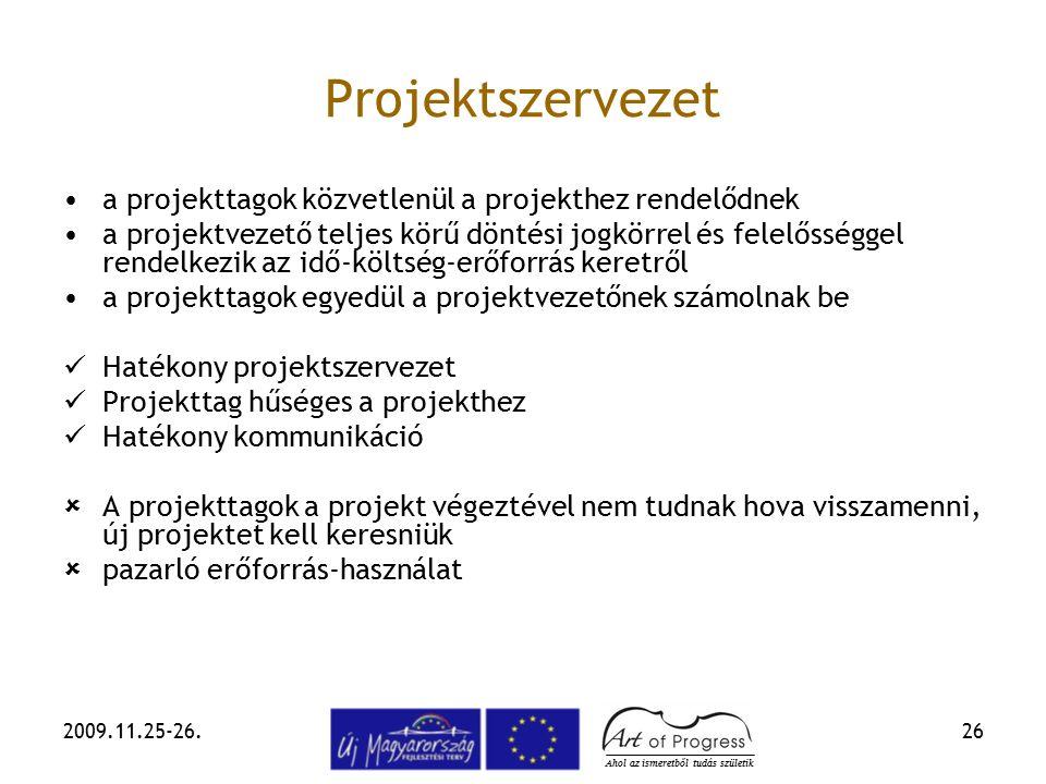 2009.11.25-26.26 Projektszervezet a projekttagok közvetlenül a projekthez rendelődnek a projektvezető teljes körű döntési jogkörrel és felelősséggel r