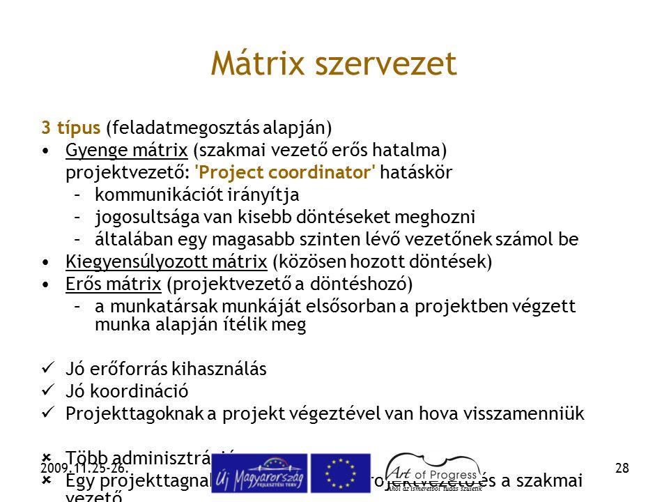 2009.11.25-26.28 Mátrix szervezet 3 típus (feladatmegosztás alapján) Gyenge mátrix (szakmai vezető erős hatalma) projektvezető: 'Project coordinator'