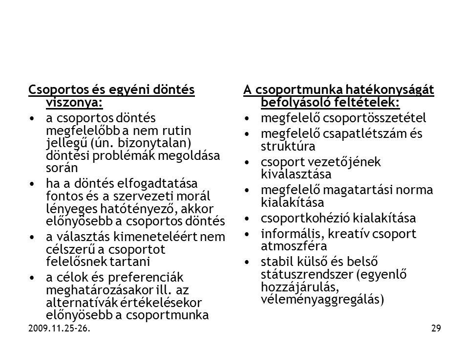 2009.11.25-26.29 Csoportos és egyéni döntés viszonya: a csoportos döntés megfelelőbb a nem rutin jellegű (ún. bizonytalan) döntési problémák megoldása