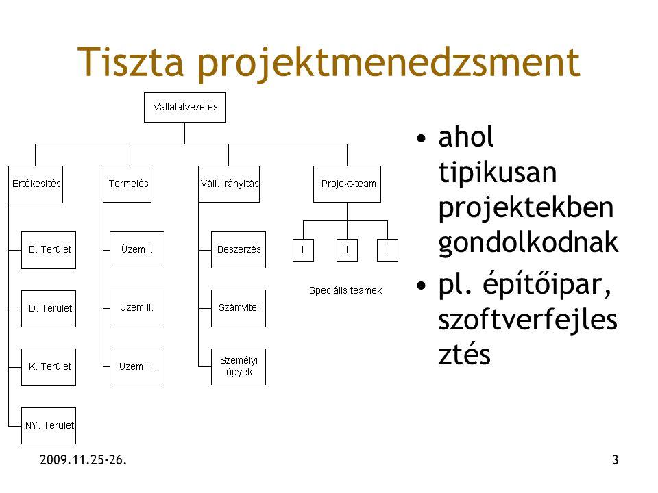 2009.11.25-26.3 Tiszta projektmenedzsment ahol tipikusan projektekben gondolkodnak pl. építőipar, szoftverfejles ztés