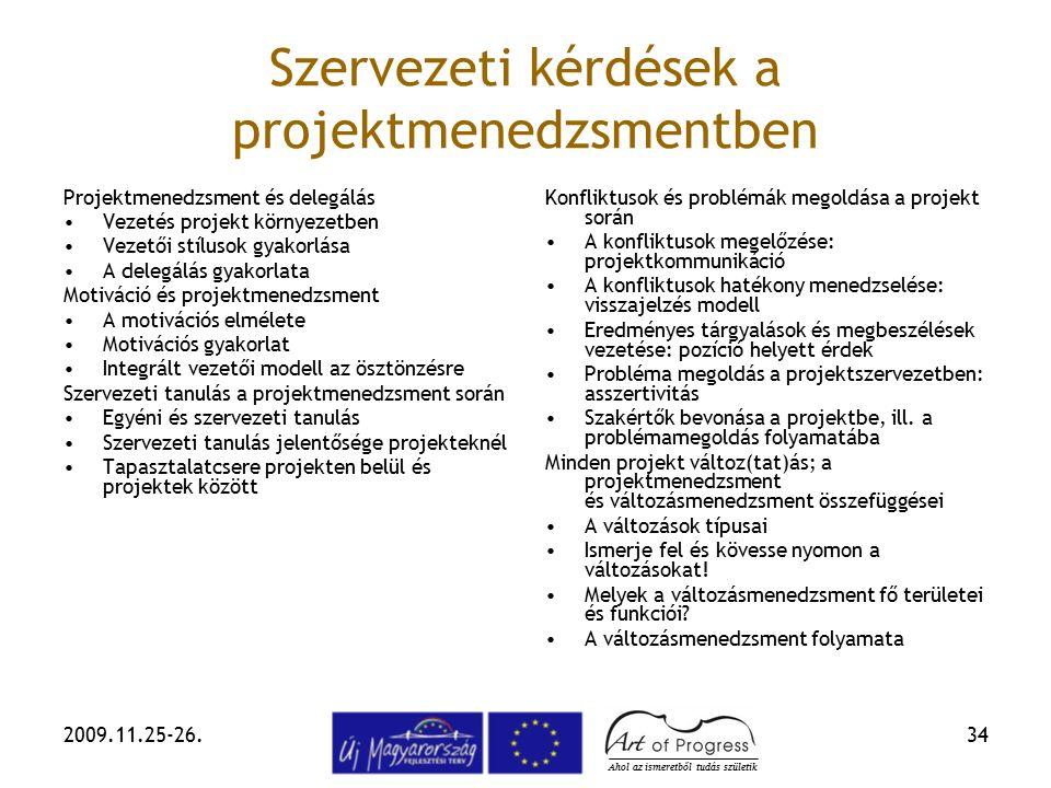 2009.11.25-26.34 Szervezeti kérdések a projektmenedzsmentben Projektmenedzsment és delegálás Vezetés projekt környezetben Vezetői stílusok gyakorlása