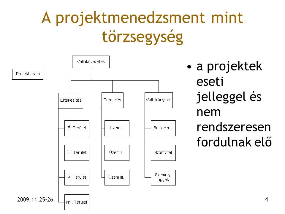 2009.11.25-26.4 A projektmenedzsment mint törzsegység a projektek eseti jelleggel és nem rendszeresen fordulnak elő