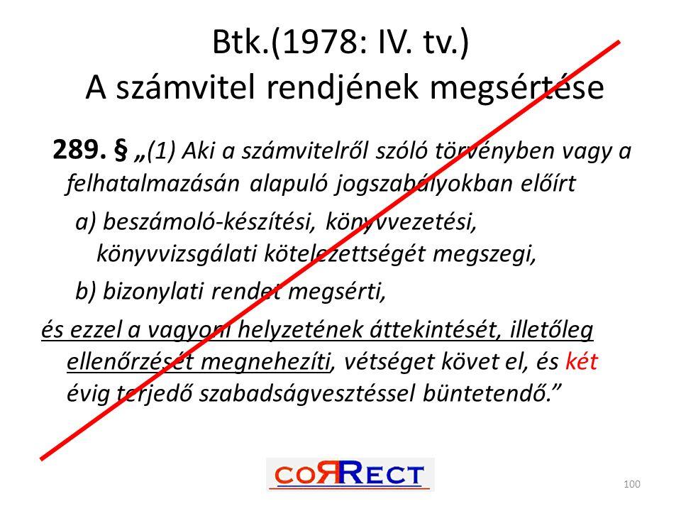 """Btk.(1978: IV. tv.) A számvitel rendjének megsértése 100 289. § """"(1) Aki a számvitelről szóló törvényben vagy a felhatalmazásán alapuló jogszabályokba"""