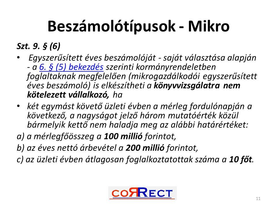 Beszámolótípusok - Mikro Szt. 9. § (6) Egyszerűsített éves beszámolóját - saját választása alapján - a 6. § (5) bekezdés szerinti kormányrendeletben f