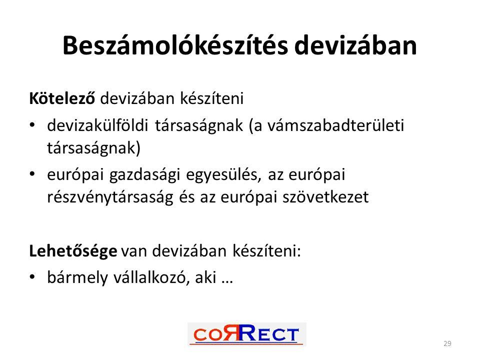 Beszámolókészítés devizában Kötelező devizában készíteni devizakülföldi társaságnak (a vámszabadterületi társaságnak) európai gazdasági egyesülés, az