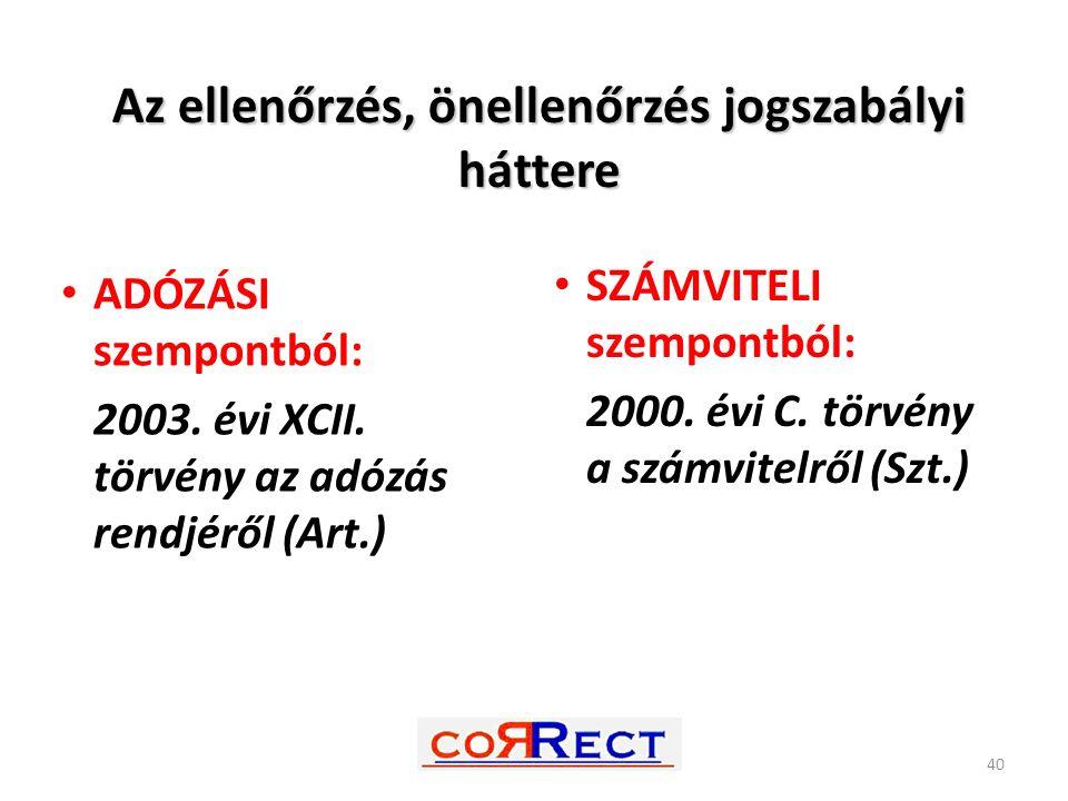 Az ellenőrzés, önellenőrzés jogszabályi háttere ADÓZÁSI szempontból: 2003. évi XCII. törvény az adózás rendjéről (Art.) SZÁMVITELI szempontból: 2000.