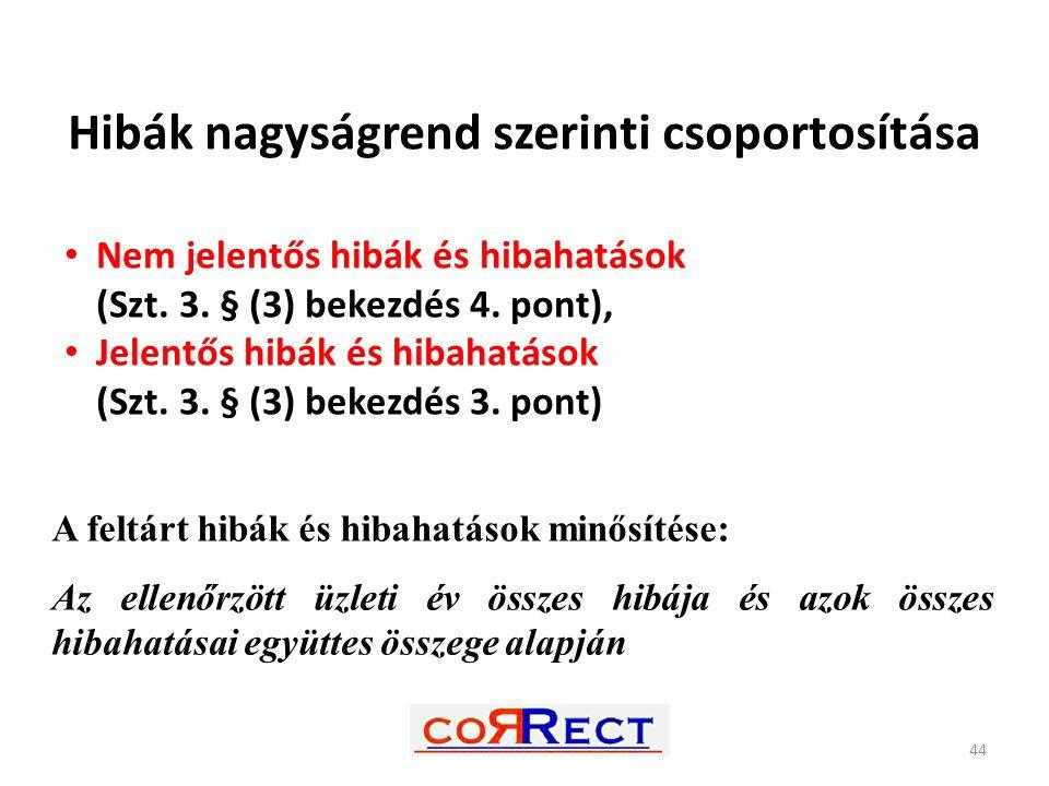 Hibák nagyságrend szerinti csoportosítása Nem jelentős hibák és hibahatások (Szt. 3. § (3) bekezdés 4. pont), Jelentős hibák és hibahatások (Szt. 3. §