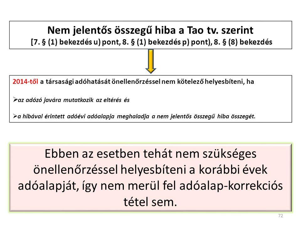 Nem jelentős összegű hiba a Tao tv. szerint [7. § (1) bekezdés u) pont, 8. § (1) bekezdés p) pont), 8. § (8) bekezdés 2014-től a társasági adóhatását