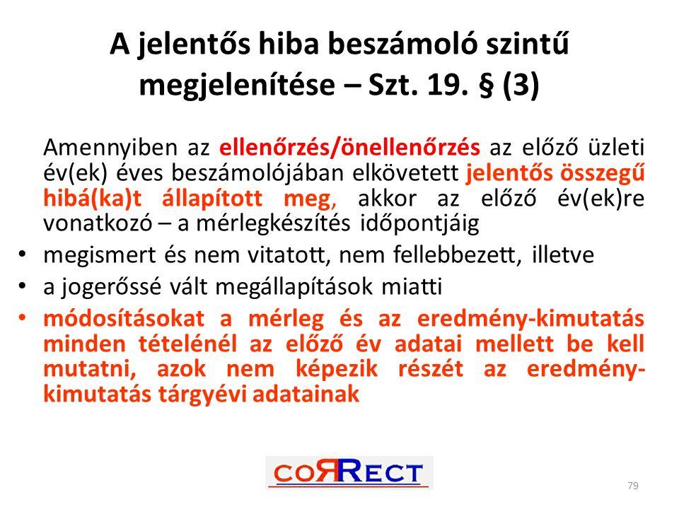 A jelentős hiba beszámoló szintű megjelenítése – Szt. 19. § (3) Amennyiben az ellenőrzés/önellenőrzés az előző üzleti év(ek) éves beszámolójában elköv