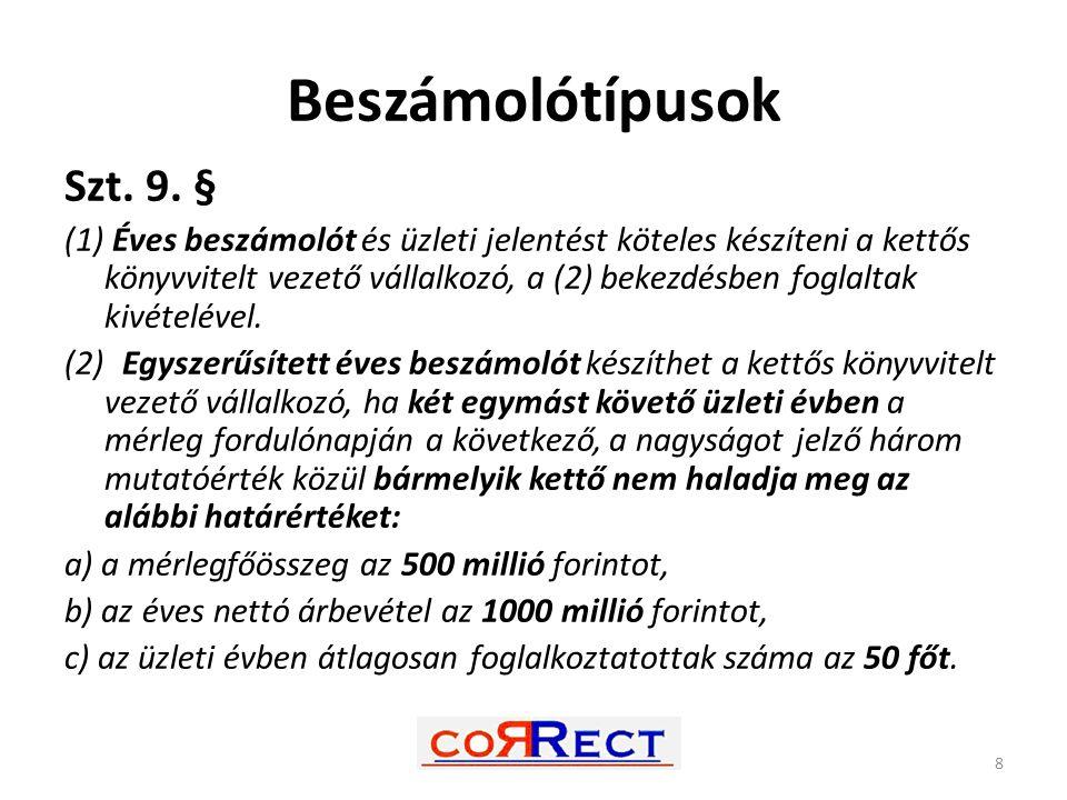 Beszámolótípusok Szt. 9. § (1) Éves beszámolót és üzleti jelentést köteles készíteni a kettős könyvvitelt vezető vállalkozó, a (2) bekezdésben foglalt