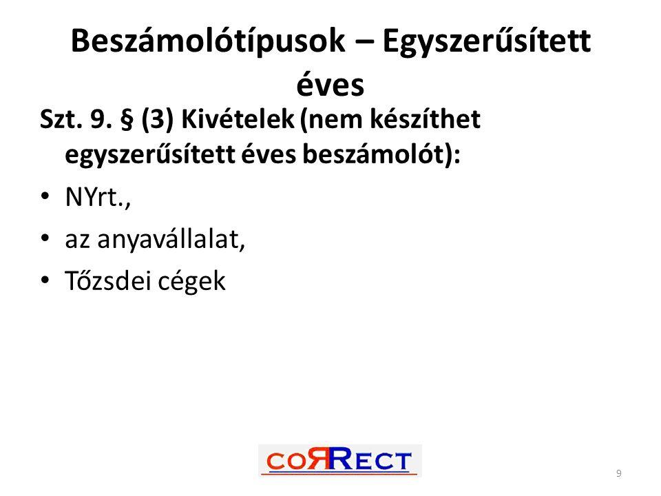 Beszámolótípusok – Egyszerűsített éves Szt. 9. § (3) Kivételek (nem készíthet egyszerűsített éves beszámolót): NYrt., az anyavállalat, Tőzsdei cégek 9