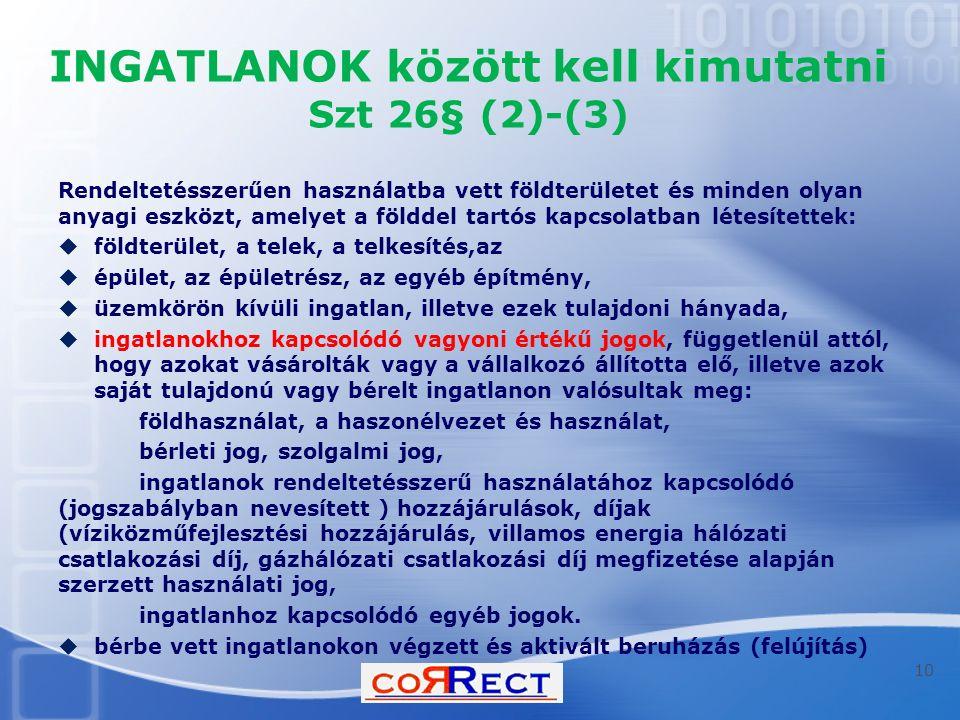 INGATLANOK között kell kimutatni Szt 26§ (2)-(3) Rendeltetésszerűen használatba vett földterületet és minden olyan anyagi eszközt, amelyet a földdel t