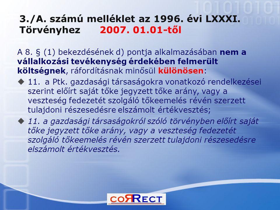 3./A. számú melléklet az 1996. évi LXXXI. Törvényhez 2007. 01.01-től A 8. § (1) bekezdésének d) pontja alkalmazásában nem a vállalkozási tevékenység é