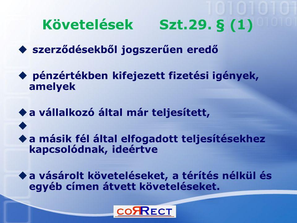 Követelések Szt.29. § (1)  szerződésekből jogszerűen eredő  pénzértékben kifejezett fizetési igények, amelyek  a vállalkozó által már teljesített,