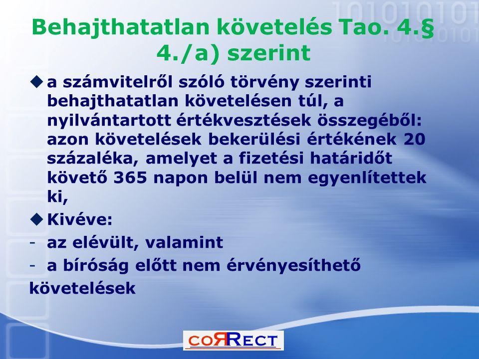 Behajthatatlan követelés Tao. 4.§ 4./a) szerint  a számvitelről szóló törvény szerinti behajthatatlan követelésen túl, a nyilvántartott értékvesztése