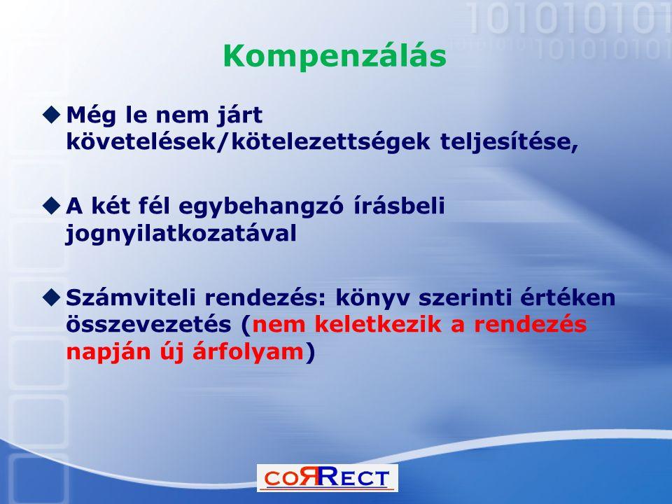 Kompenzálás  Még le nem járt követelések/kötelezettségek teljesítése,  A két fél egybehangzó írásbeli jognyilatkozatával  Számviteli rendezés: köny