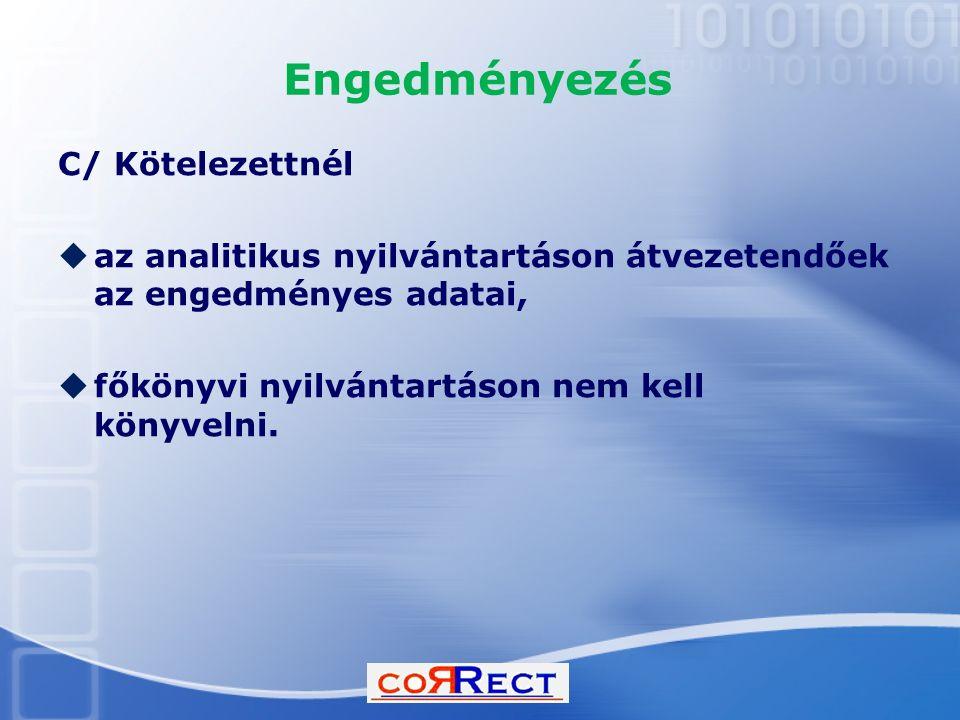 Engedményezés C/ Kötelezettnél  az analitikus nyilvántartáson átvezetendőek az engedményes adatai,  főkönyvi nyilvántartáson nem kell könyvelni.