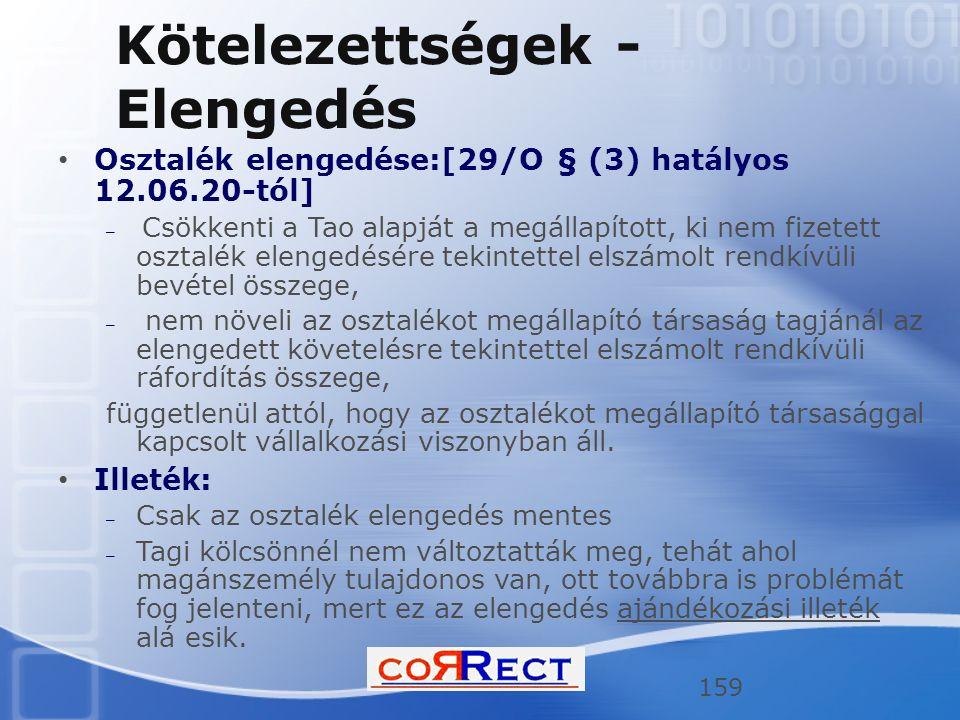 Kötelezettségek - Elengedés Osztalék elengedése:[29/O § (3) hatályos 12.06.20-tól] – Csökkenti a Tao alapját a megállapított, ki nem fizetett osztalék