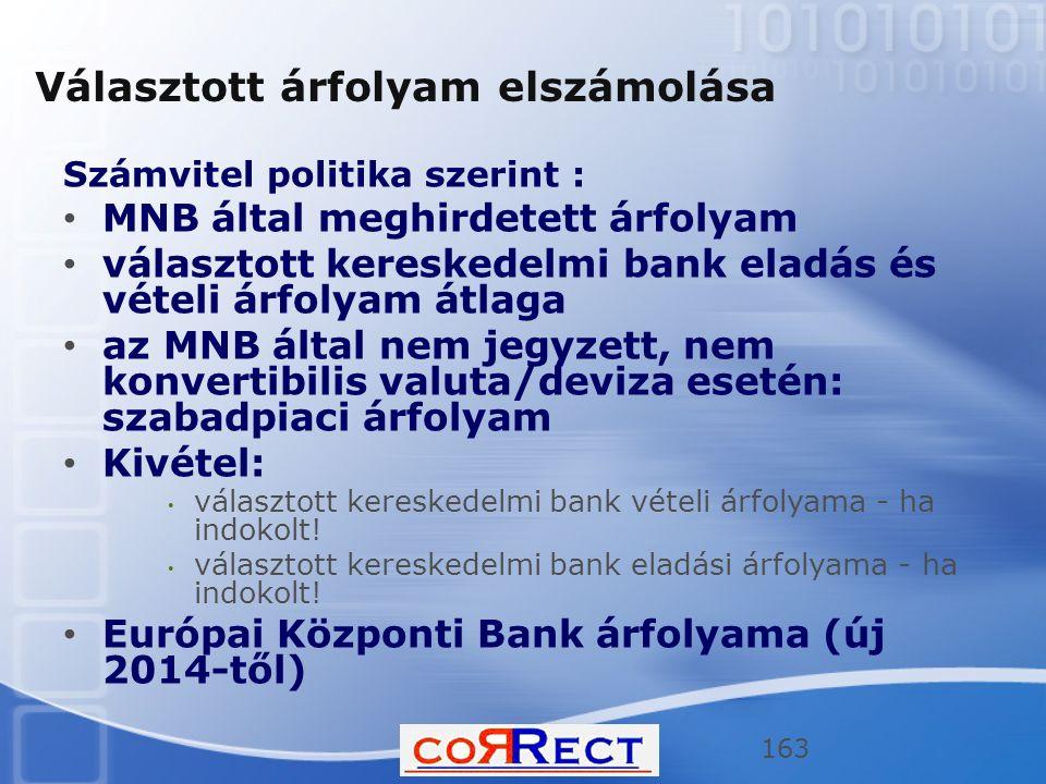 Választott árfolyam elszámolása Számvitel politika szerint : MNB által meghirdetett árfolyam választott kereskedelmi bank eladás és vételi árfolyam át