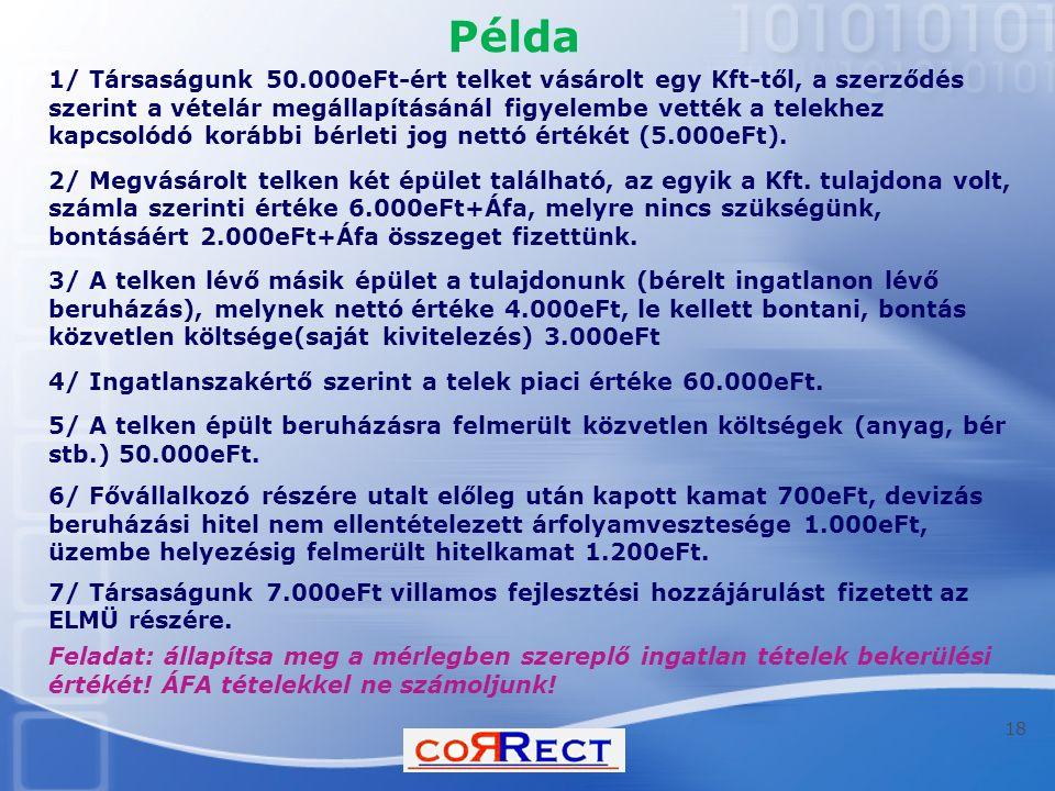 Példa 1/ Társaságunk 50.000eFt-ért telket vásárolt egy Kft-től, a szerződés szerint a vételár megállapításánál figyelembe vették a telekhez kapcsolódó korábbi bérleti jog nettó értékét (5.000eFt).