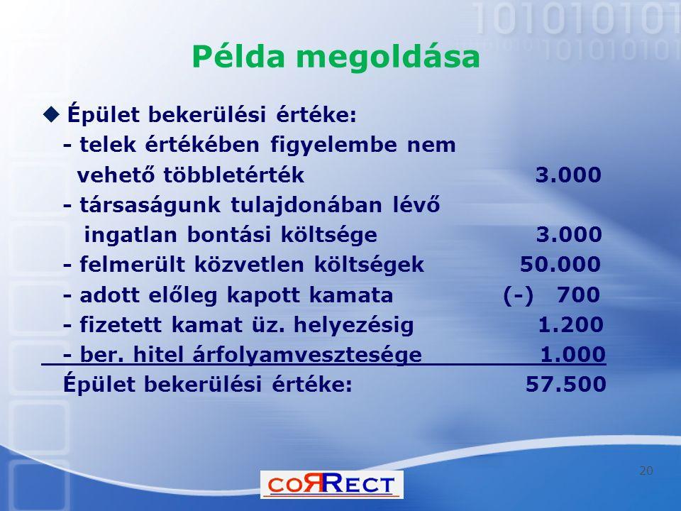 Példa megoldása  Épület bekerülési értéke: - telek értékében figyelembe nem vehető többletérték 3.000 - társaságunk tulajdonában lévő ingatlan bontási költsége 3.000 - felmerült közvetlen költségek 50.000 - adott előleg kapott kamata (-) 700 - fizetett kamat üz.