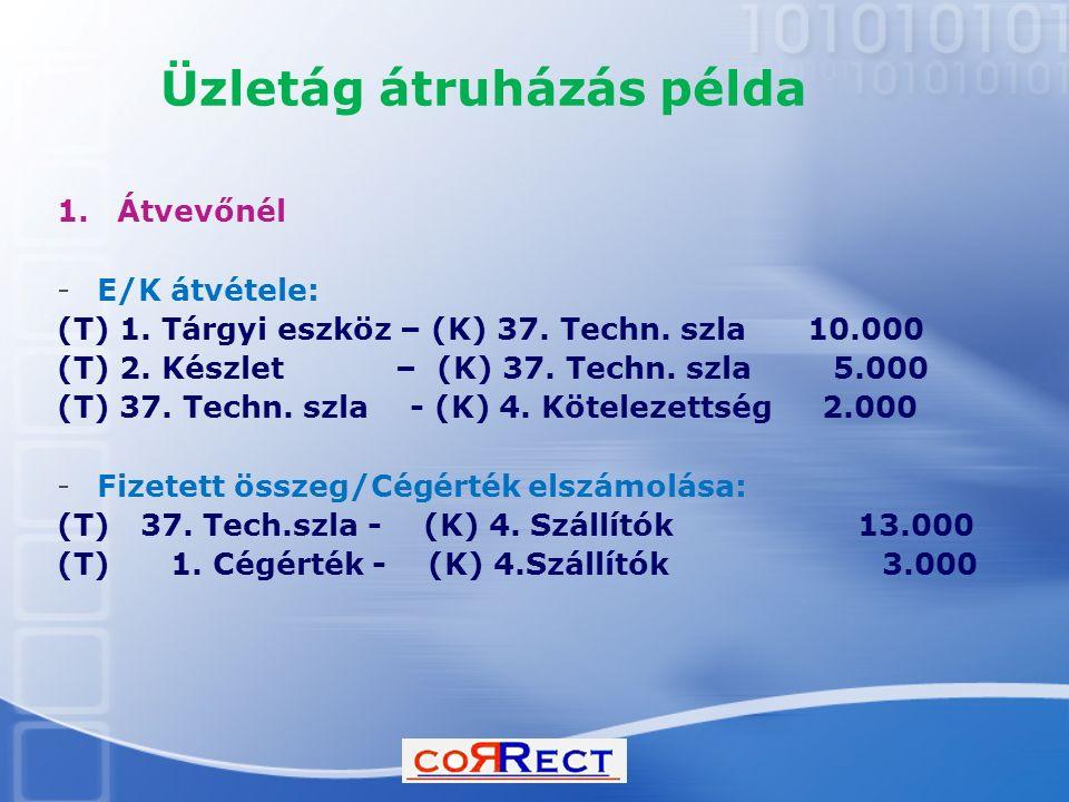 Üzletág átruházás példa 1.Átvevőnél -E/K átvétele: (T) 1. Tárgyi eszköz – (K) 37. Techn. szla 10.000 (T) 2. Készlet – (K) 37. Techn. szla 5.000 (T) 37