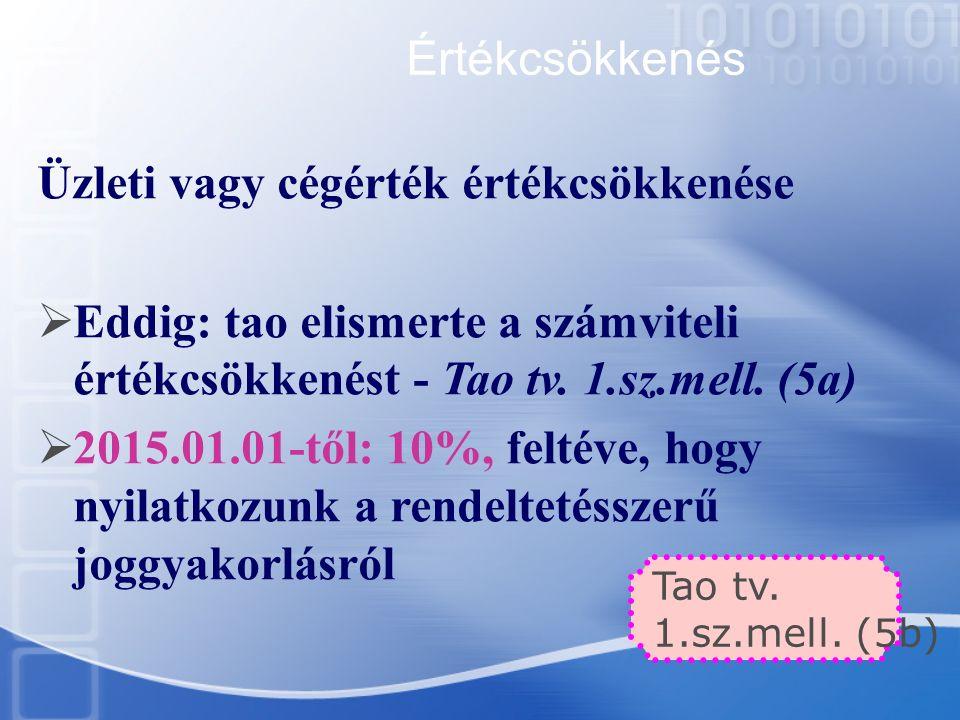 Értékcsökkenés Üzleti vagy cégérték értékcsökkenése  Eddig: tao elismerte a számviteli értékcsökkenést - Tao tv. 1.sz.mell. (5a)  2015.01.01-től: 10
