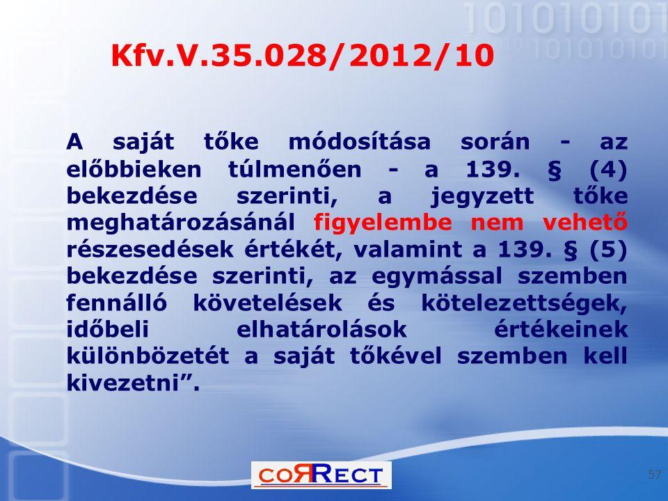 Kfv.V.35.028/2012/10 A saját tőke módosítása során - az előbbieken túlmenően - a 139. § (4) bekezdése szerinti, a jegyzett tőke meghatározásánál figye