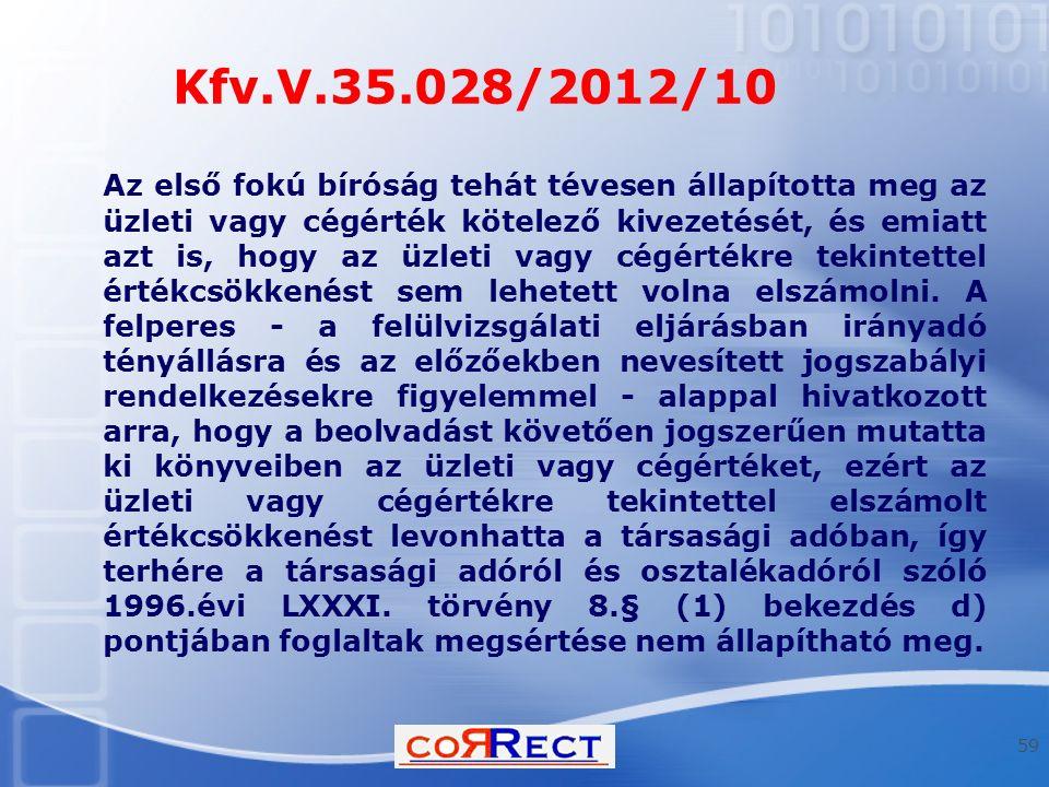 Kfv.V.35.028/2012/10 Az első fokú bíróság tehát tévesen állapította meg az üzleti vagy cégérték kötelező kivezetését, és emiatt azt is, hogy az üzleti