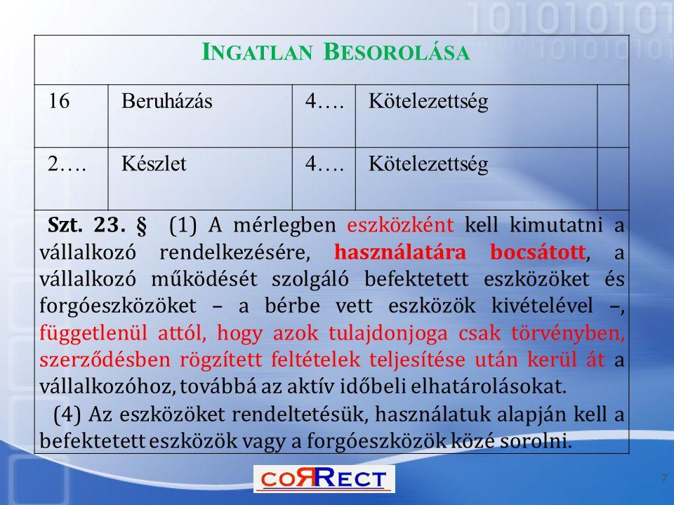 7 I NGATLAN B ESOROLÁSA 16Beruházás4….Kötelezettség 2….Készlet4….Kötelezettség Szt. 23. § (1) A mérlegben eszközként kell kimutatni a vállalkozó rende