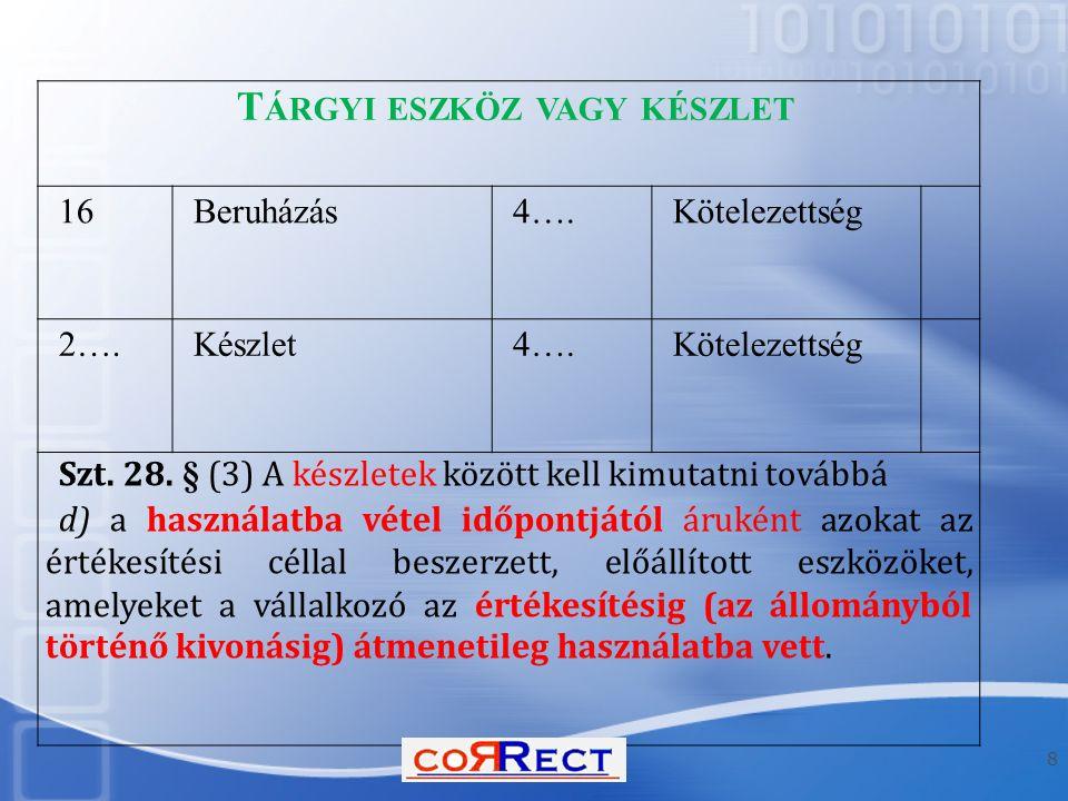 Példa megoldása  Telek bekerülési értéke: - beszerzés ellenértéke 50.000 - bérleti jog nettó értéke 5.000 - telekkel vásárolt épület értéke 6.000 - vásárolt épület bontási költsége 2.000 Összesen: 63.000 Telek bekerülési értéke 60.000 (maximum: piaci érték!) Többletérték 3.000 (Épület bekerülési értékében!) 19