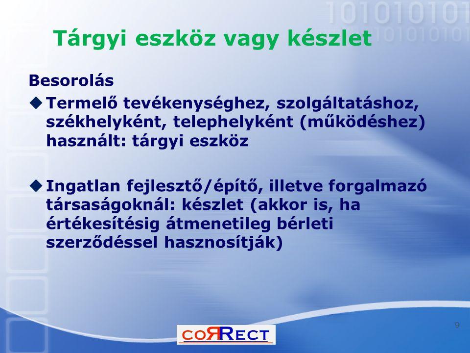 Tartozékok  47.§ (7) A tárgyi eszköz biztonságos üzemeltetéséhez, rendeltetésszerű használatához szükséges - és a tárgyi eszköz beszerzésével egy időben vagy annak üzembe helyezéséig beszerzett - tartozékok, tartalékalkatrészek beszerzési értéke - függetlenül attól, hogy az a tárgyi eszköz számlázott értékében vagy külön számlában jelenik meg - a tárgyi eszköz bekerülési (beszerzési) értéke részének tekintendő.