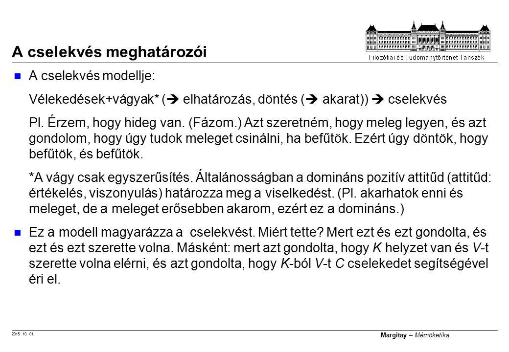 2015. 10. 01. Margitay – Mérnöketika A cselekvés meghatározói A cselekvés modellje: Vélekedések+vágyak* (  elhatározás, döntés (  akarat))  cselekv