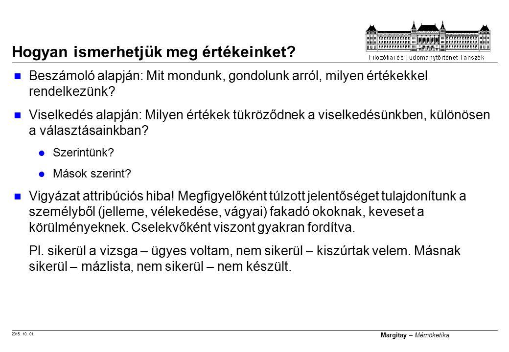 2015. 10. 01. Margitay – Mérnöketika Hogyan ismerhetjük meg értékeinket? Beszámoló alapján: Mit mondunk, gondolunk arról, milyen értékekkel rendelkezü