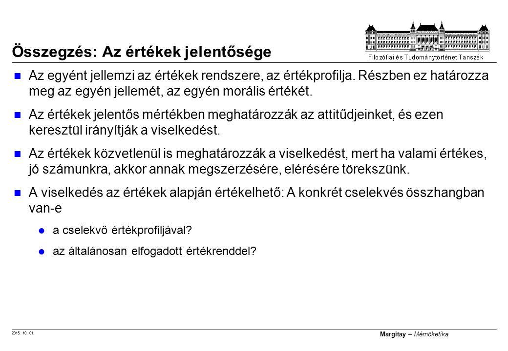 2015.10. 01. Margitay – Mérnöketika Az egyént jellemzi az értékek rendszere, az értékprofilja.