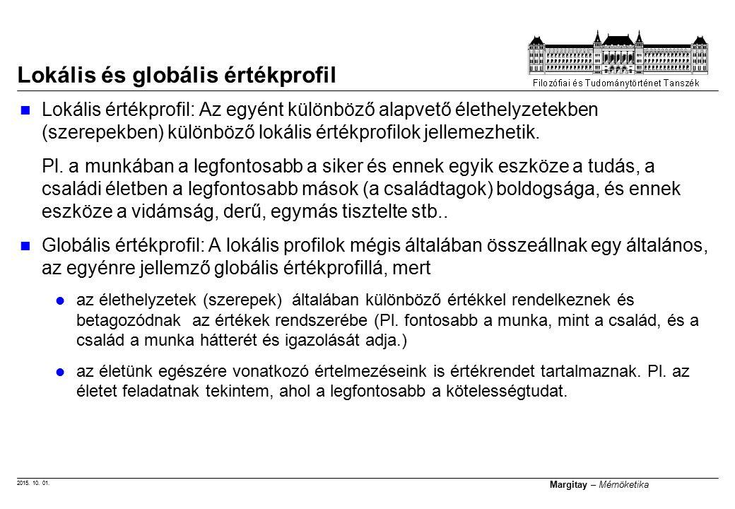2015. 10. 01. Margitay – Mérnöketika Lokális és globális értékprofil Lokális értékprofil: Az egyént különböző alapvető élethelyzetekben (szerepekben)