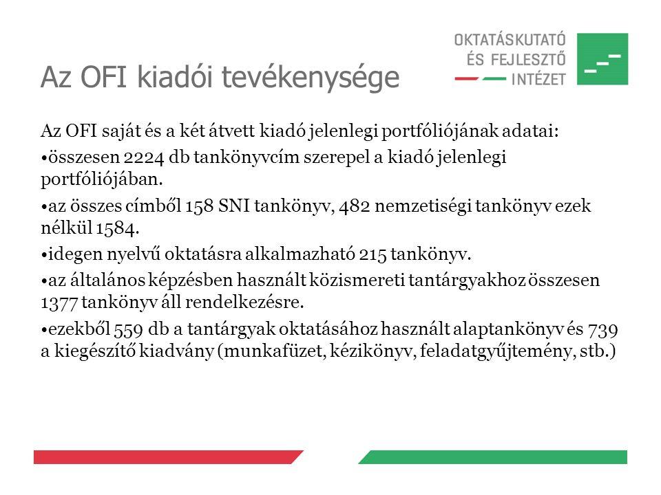 Az OFI kiadói tevékenysége Az OFI saját és a két átvett kiadó jelenlegi portfóliójának adatai: összesen 2224 db tankönyvcím szerepel a kiadó jelenlegi