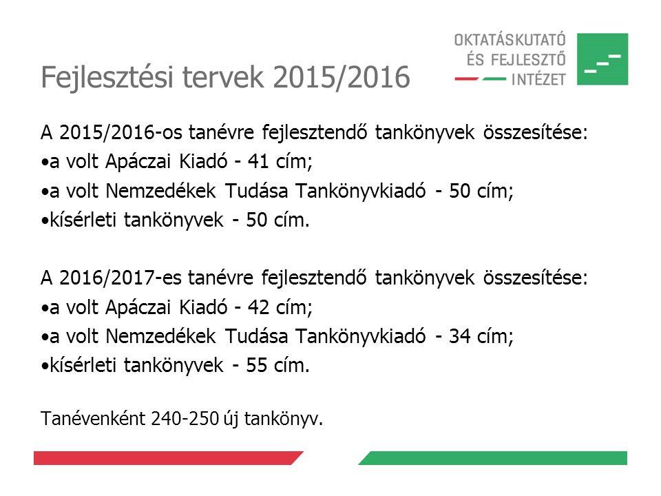 Fejlesztési tervek 2015/2016 A 2015/2016-os tanévre fejlesztendő tankönyvek összesítése: a volt Apáczai Kiadó - 41 cím; a volt Nemzedékek Tudása Tankö