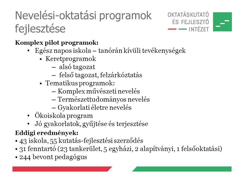 Nevelési-oktatási programok fejlesztése Komplex pilot programok: Egész napos iskola – tanórán kívüli tevékenységek Keretprogramok – alsó tagozat – fel