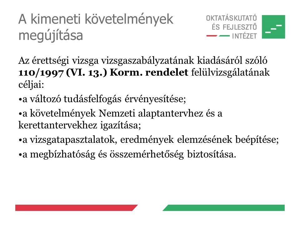 A kimeneti követelmények megújítása Az érettségi vizsga vizsgaszabályzatának kiadásáról szóló 110/1997 (VI. 13.) Korm. rendelet felülvizsgálatának cél