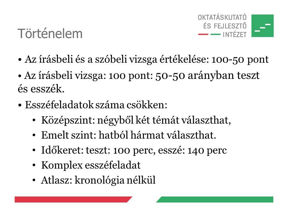 Történelem Az írásbeli és a szóbeli vizsga értékelése: 100-50 pont Az írásbeli vizsga: 100 pont: 50-50 arányban teszt és esszék. Esszéfeladatok száma