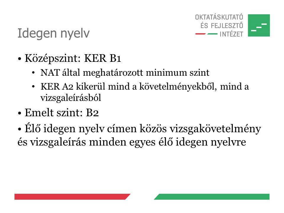 Idegen nyelv Középszint: KER B1 NAT által meghatározott minimum szint KER A2 kikerül mind a követelményekből, mind a vizsgaleírásból Emelt szint: B2 É